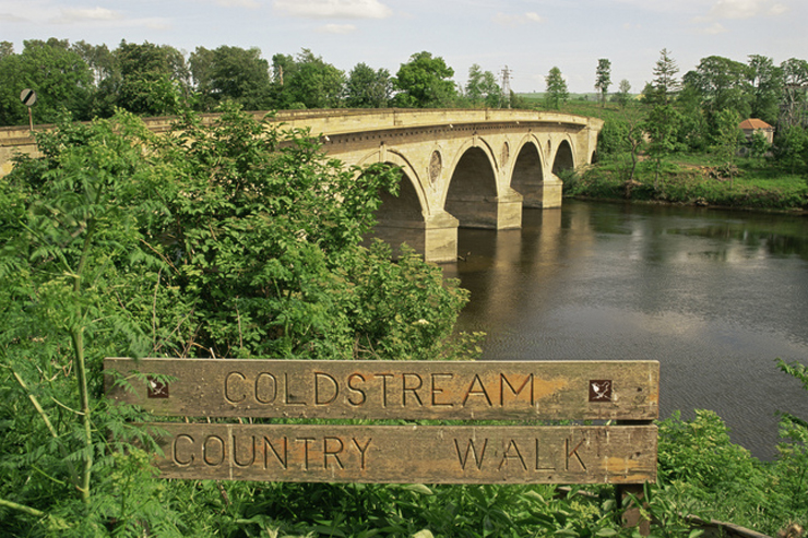 The sign for the Coldstream country walk by the River Tweed, Coldstream, Scottish Borders.