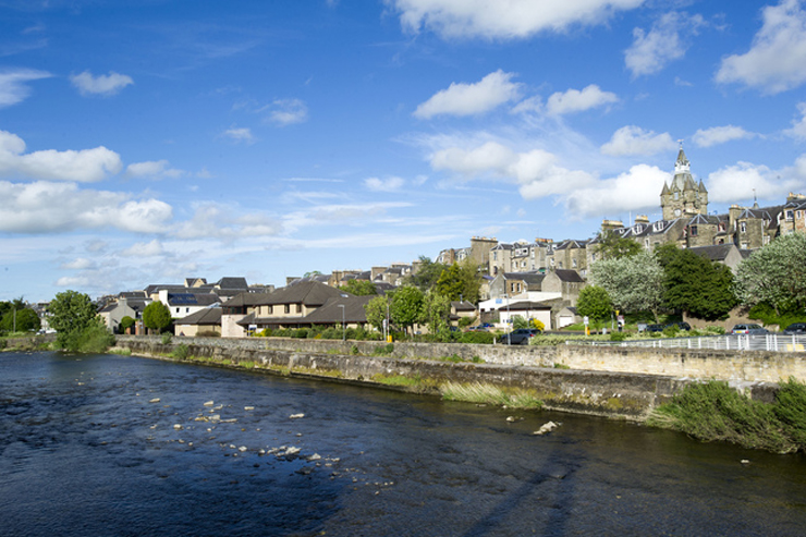 View of the river Teviot in Hawick.