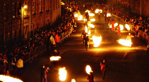 A scene from VisitScotland's TV Commercial, Surprise Yourself. The Stonehaven Fireball Festival held each Hogmanay to welcome in the New Year. Picture Credit : VisitScotland ***Low Res. Still taken from the Advertisement Footage***