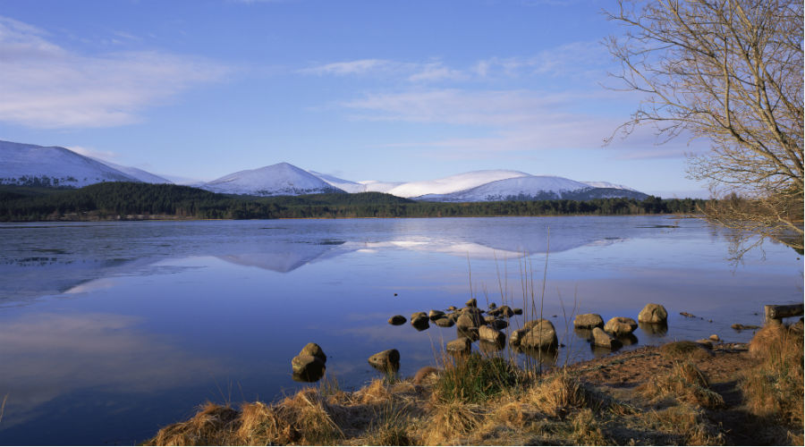 Looking across Loch Morlich to the Cairngorm Mountains Highlands B