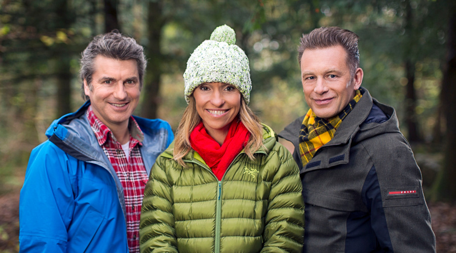 Chris Packham, Michaela Strachan and Martin Hughes-Games. Image Credit: BBC/Jo Charlesworth