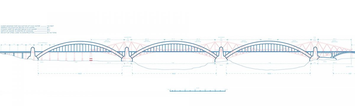 A blueprint of the three-arched Fourth Bridge, with the Forth Bridge visible in the distance.