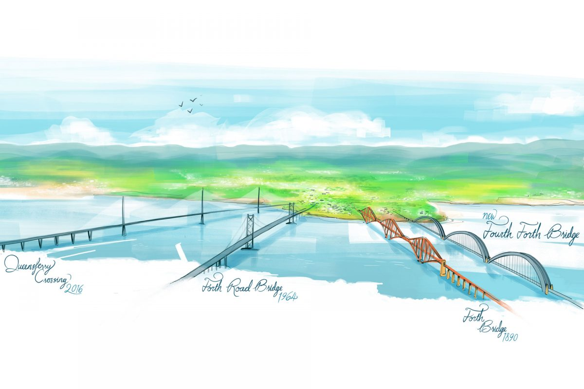 An artist's impression of the Fourth Forth Bridge, positioned to the right of the three other bridges of the forth.