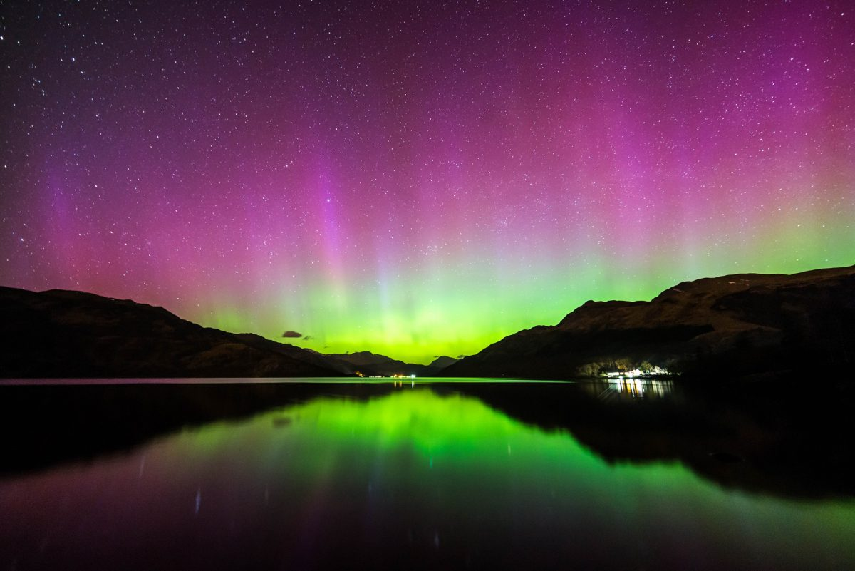 The Northern Lights above Rowardennan on Loch Lomond