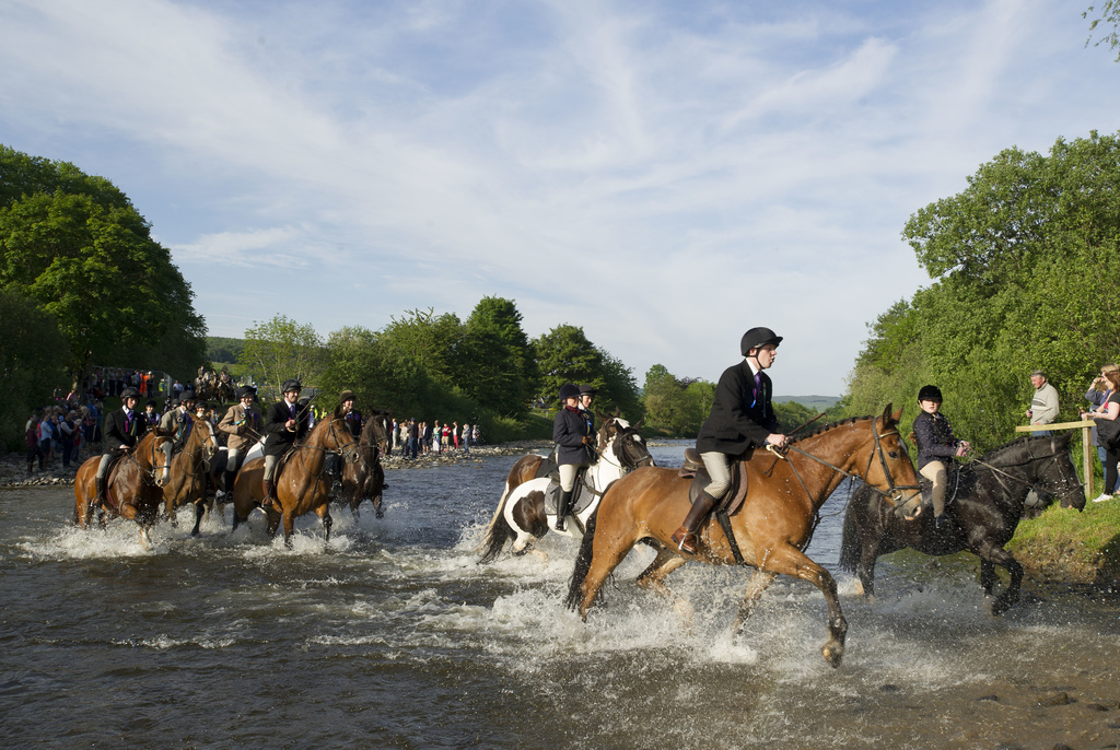 Selkirk Common Riding 2015.  Mounted supporters  follow Standard Bearer Scott Rodgerson (not in picture) through the River Ettrick on the way to ride the Burgh Marches as part of the Selkirk Common Riding celebrations.