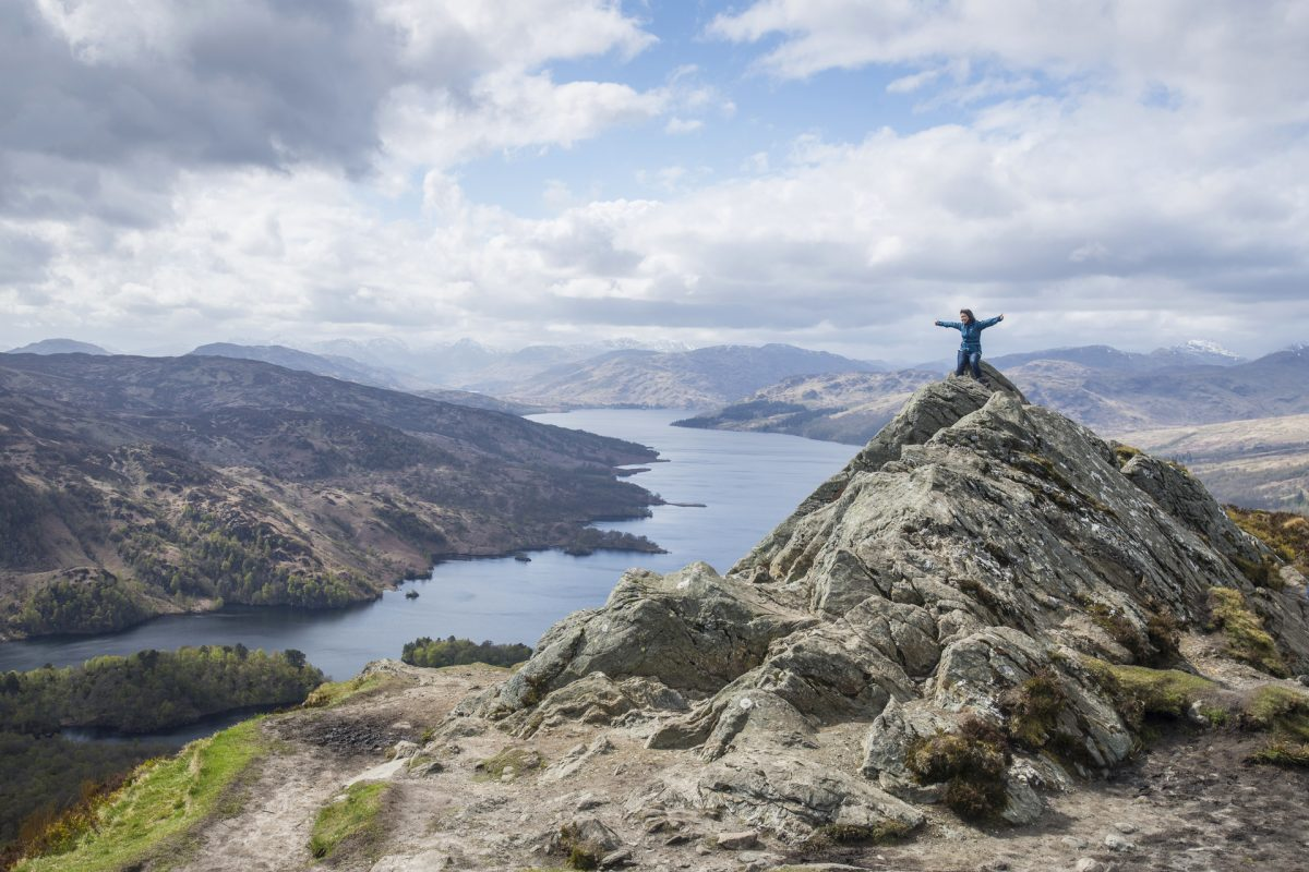 The summit of Ben A'an overlooking Loch Katrine
