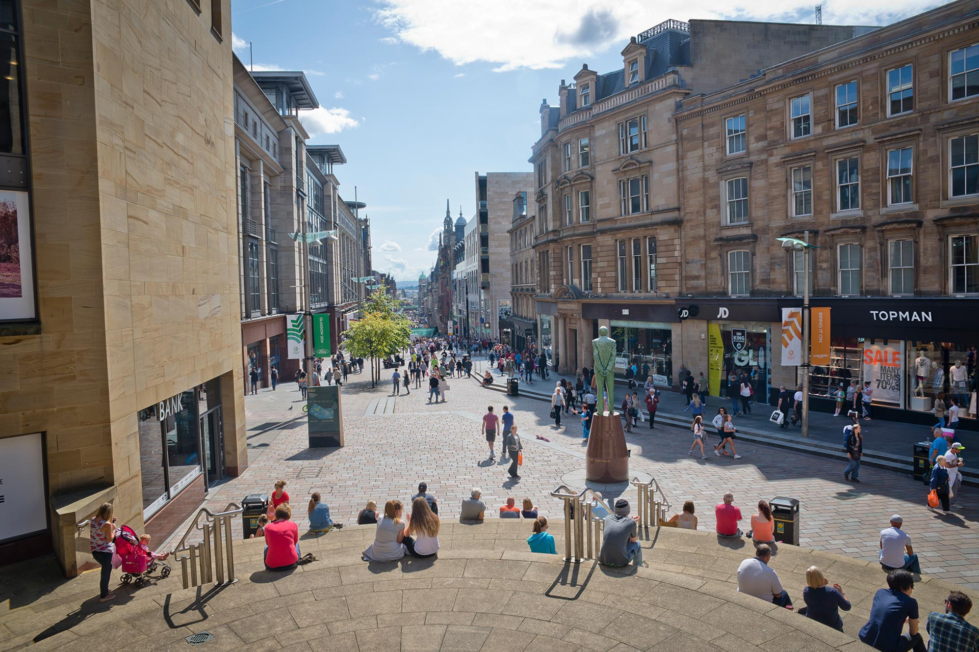 Looking down Buchanan Street, Glasgow