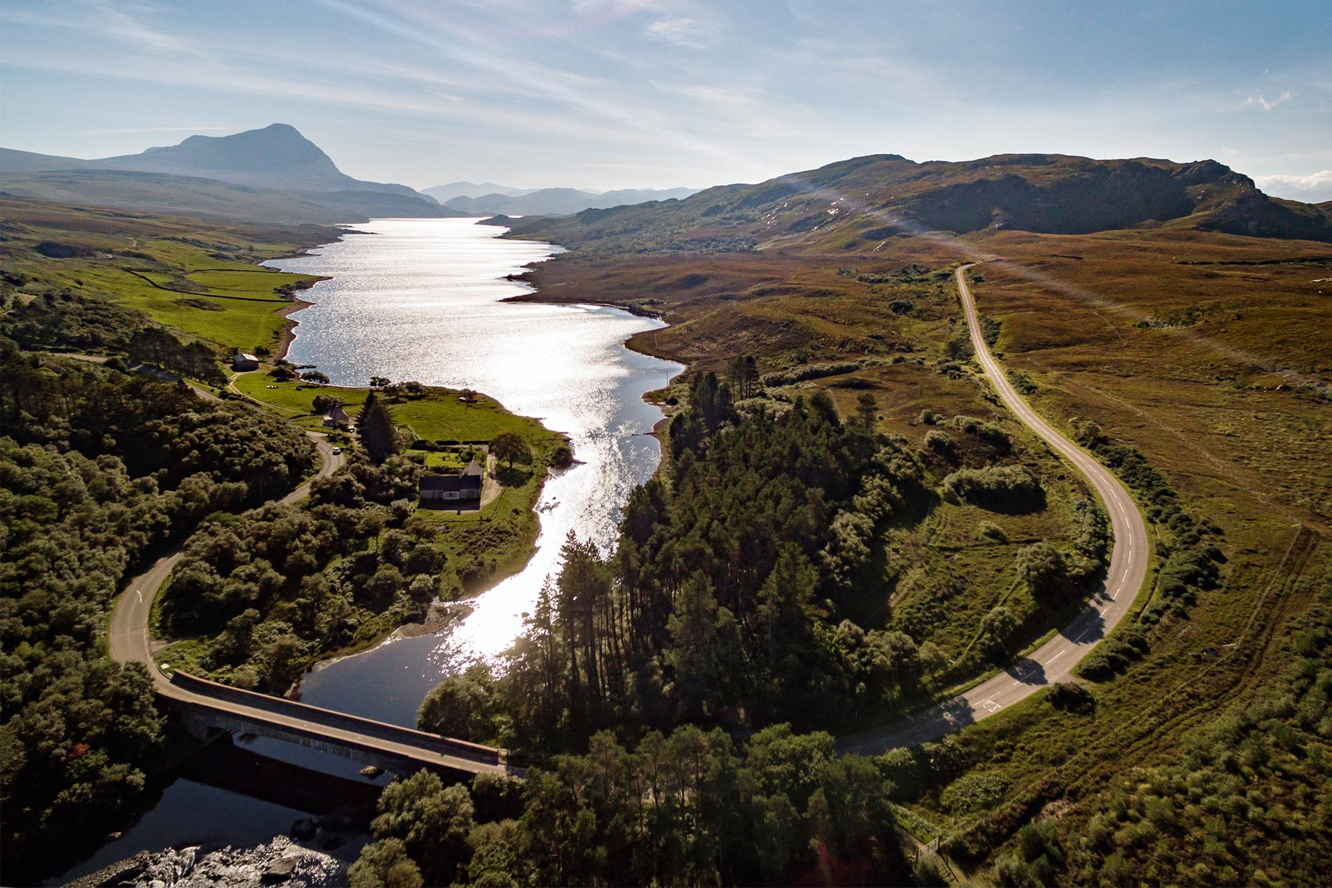 The A838 as it crosses the north end of Loch Hope, near Tongue © Richard Elliot / VisitScotland