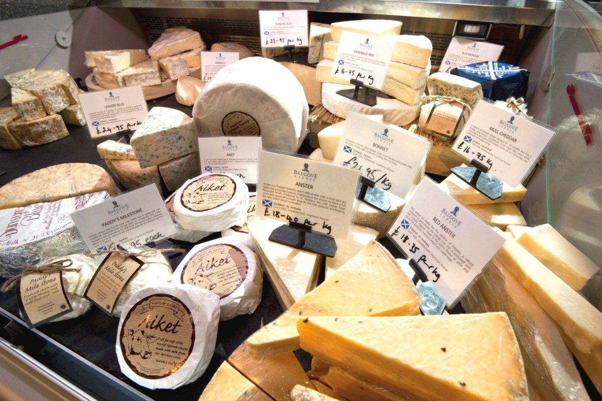 A Scottish cheese counter