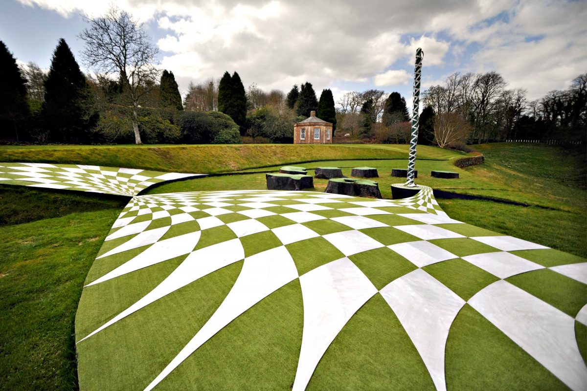 The 'Garden of Cosmic Speculation', in the grounds of Portrack House in Holywood near Dumfries, includes twisted undulating landforms and sculptures designed by Charles Jencks. 20th April 2010. Picture by JANE BARLOW