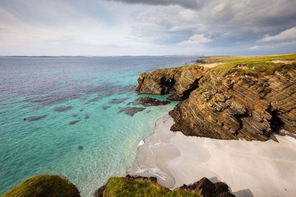 Secluded beach on the uninhabited island of Faray, Orkney