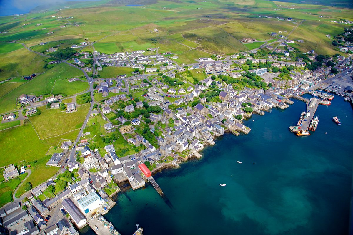 Looking down on the harbour town of Stromness, Orkney