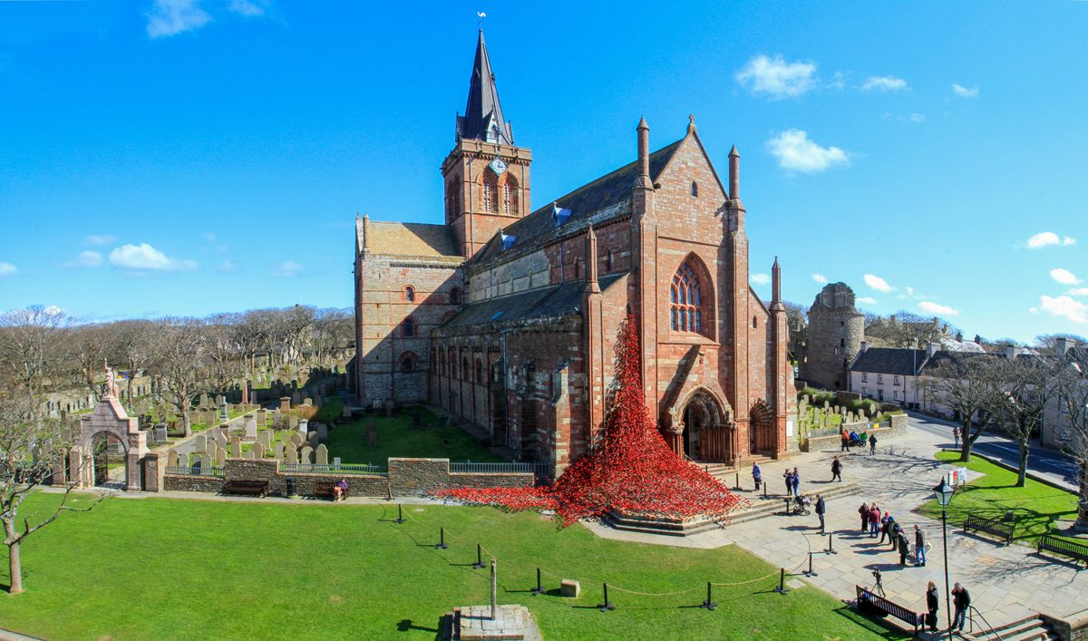 The display of ceramic poppies at St. Magnus Cathedral to commemorate the First World war and the Battle of Jutland. 22/4/16 Tom O'Brien