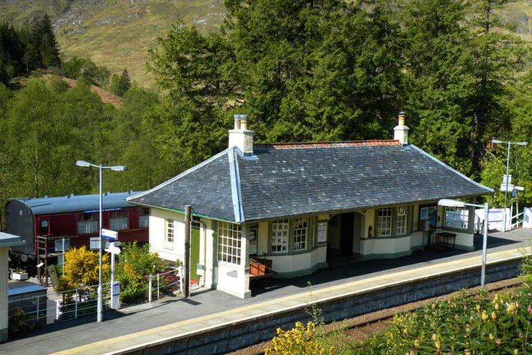 Looking across to Glenfinnan Station Museum & Sleeping Car