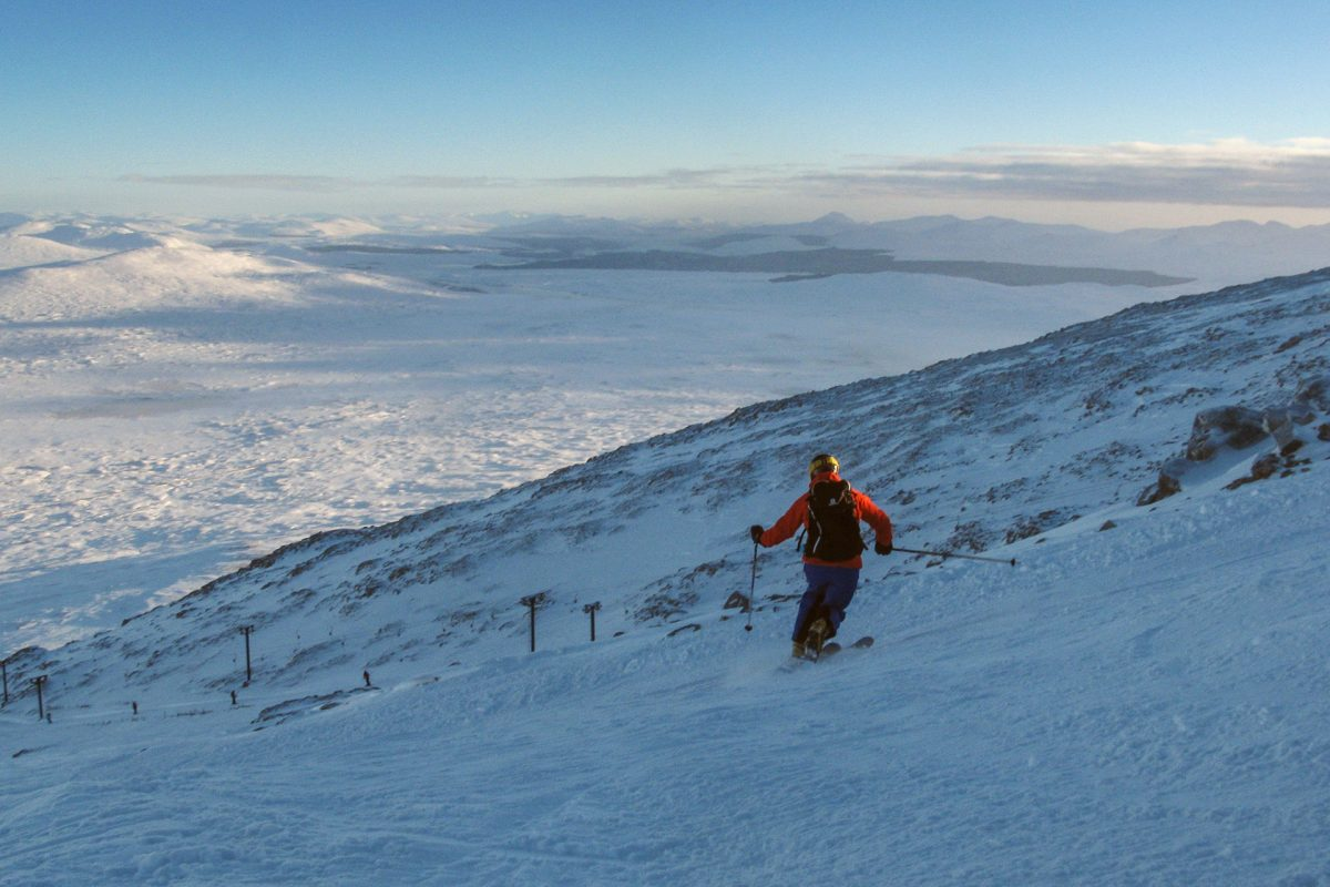Elaine Hopley skiing in Scotland