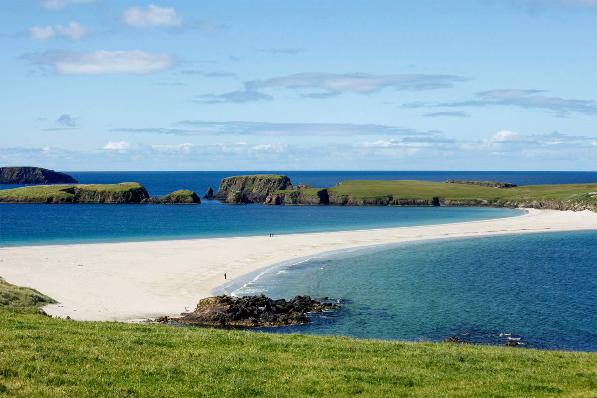 St Ninian's Isle joined to Shetland Mainland by a tombolo of sand at Bigton, Shetland.