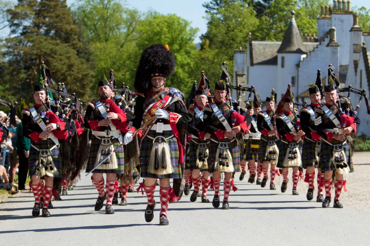 The Atholl Highlanders parade, Blair Castle