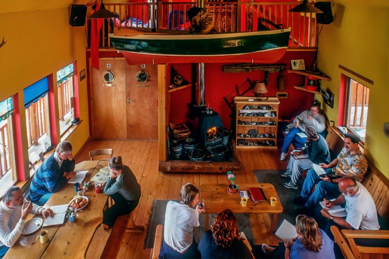 The cheerful communal living room of Am Bothan Bunkhouse, Isle of Harris