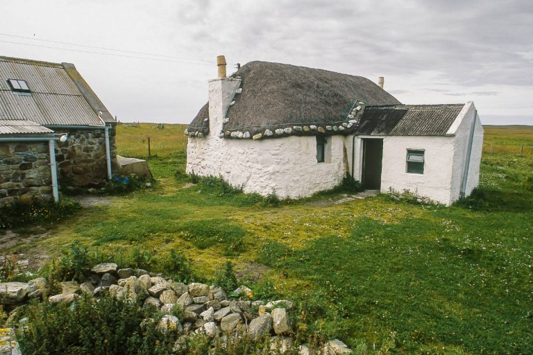 Looking across to the Gatliff Trust Howmore Hostel, South Uist