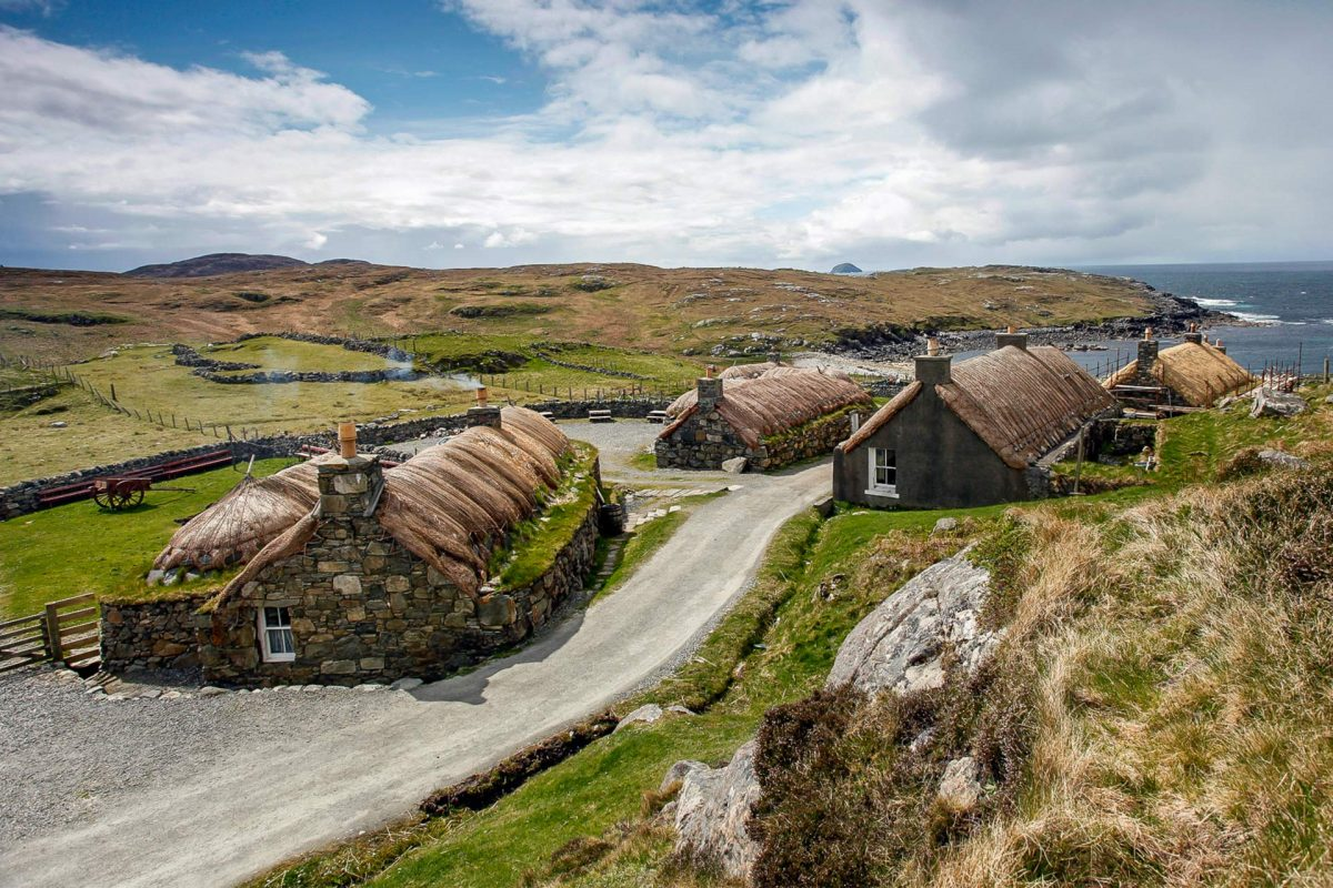 Looking over Gearrannan Blackhouse Village. home to Gearrannan Hostel, Isle of Lewis