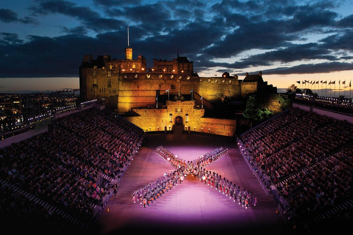 A military band performing on the esplanade during The Royal Edinburgh Military Tattoo,