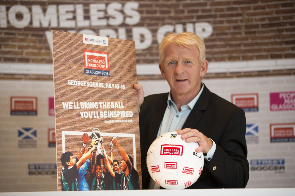 Scotland International team manager Gordon Strachan supporting the Homeless World Cup