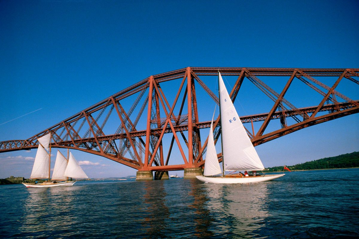 Sailing on the Firth of Forth under the Forth Rail Bridge. ***100mb scan. Suitable for exhibition use***