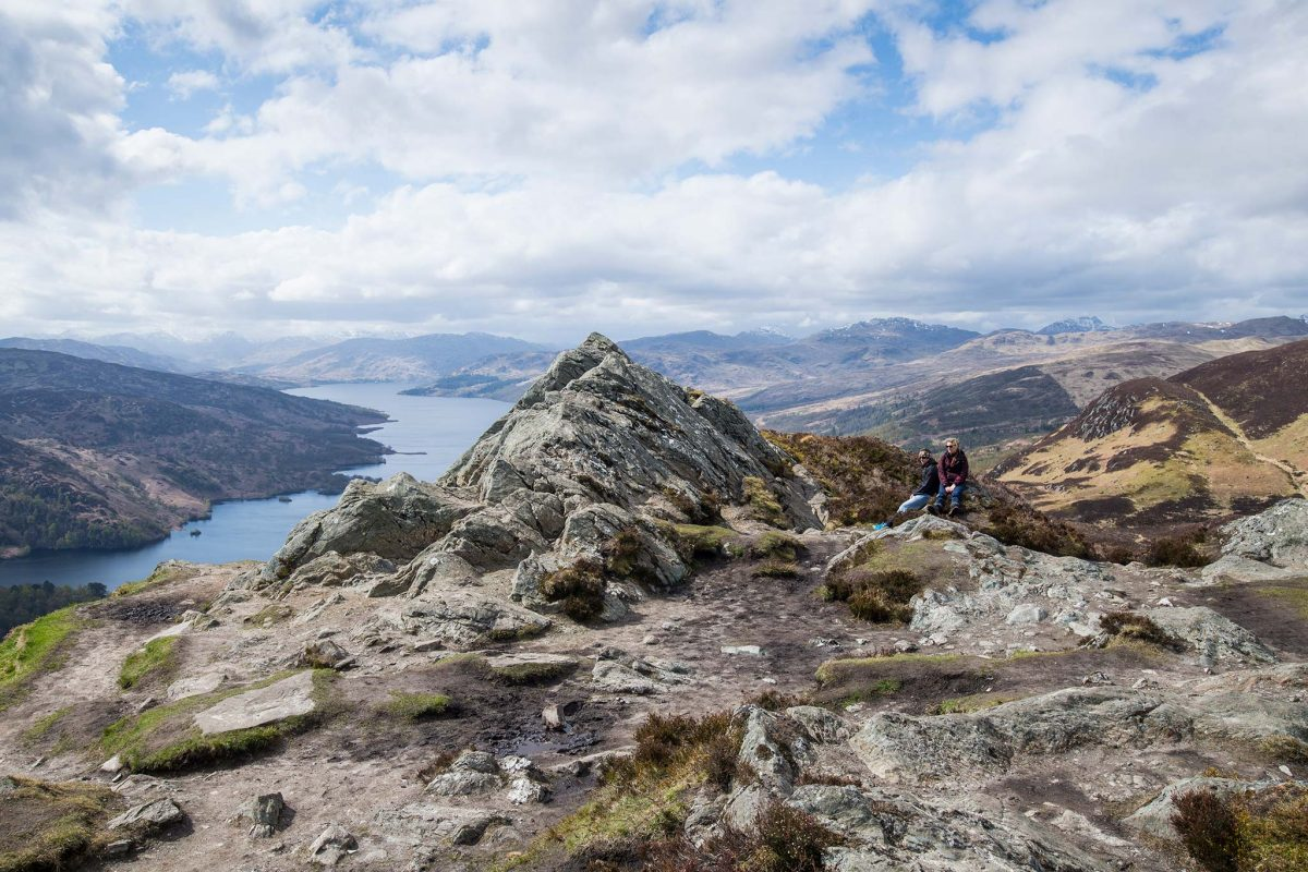 Loch Katrine seen from the summit of Ben A'an in The Trossachs
