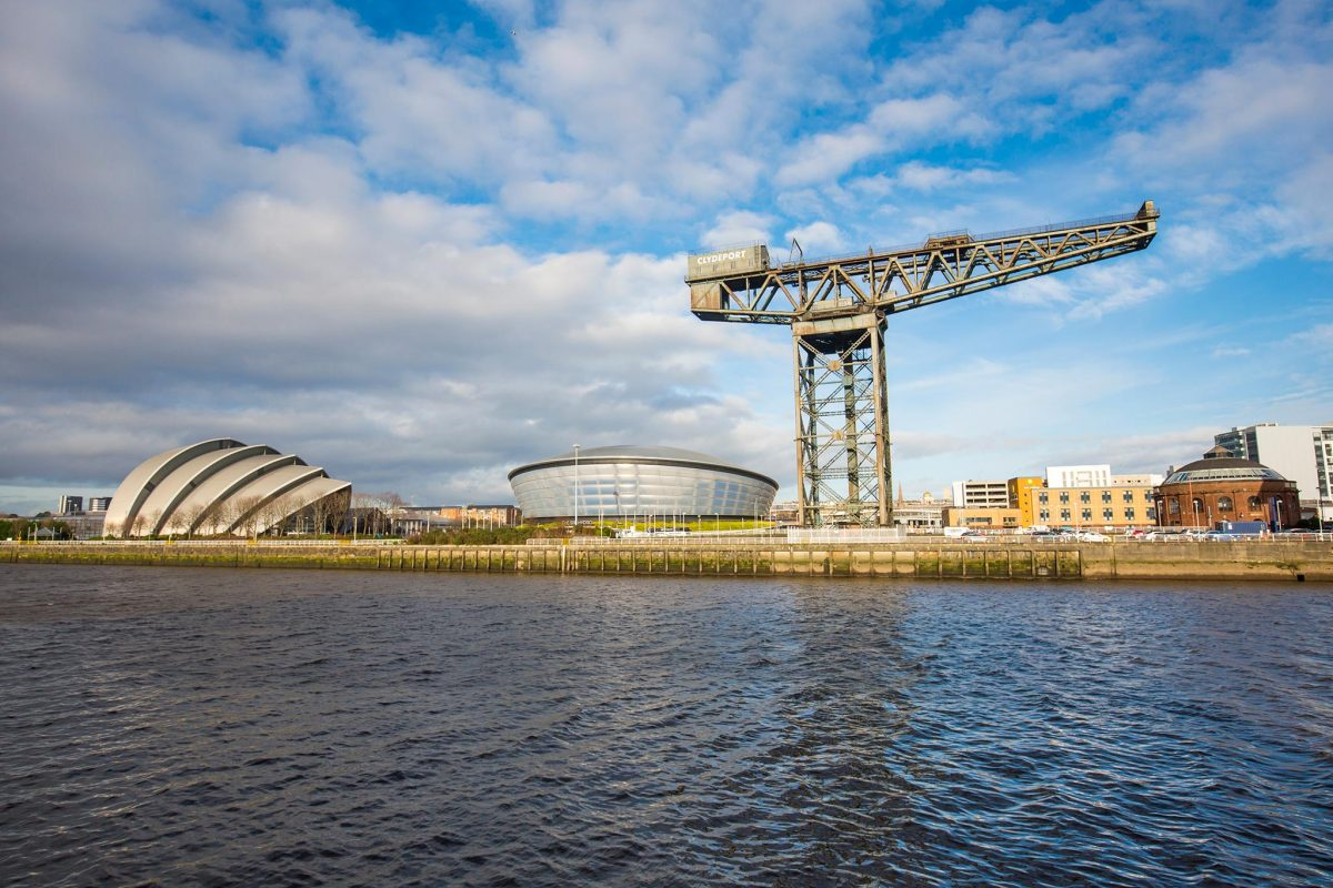 The Clyde Auditorium, SSE Hydro and the Stobcross Crane on the River Clyde, Glasgow