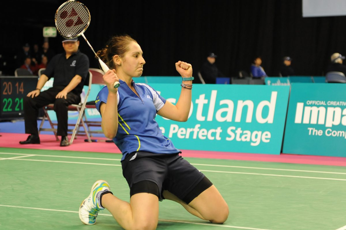 Scotland's Kirsty Gilmour goes through to the 2nd round securing a win against Beiwen Zhang (USA) at the Scottish Open Grand Prix Badminton, Day One at Emirates Arena Glasgow 22nd November 2013