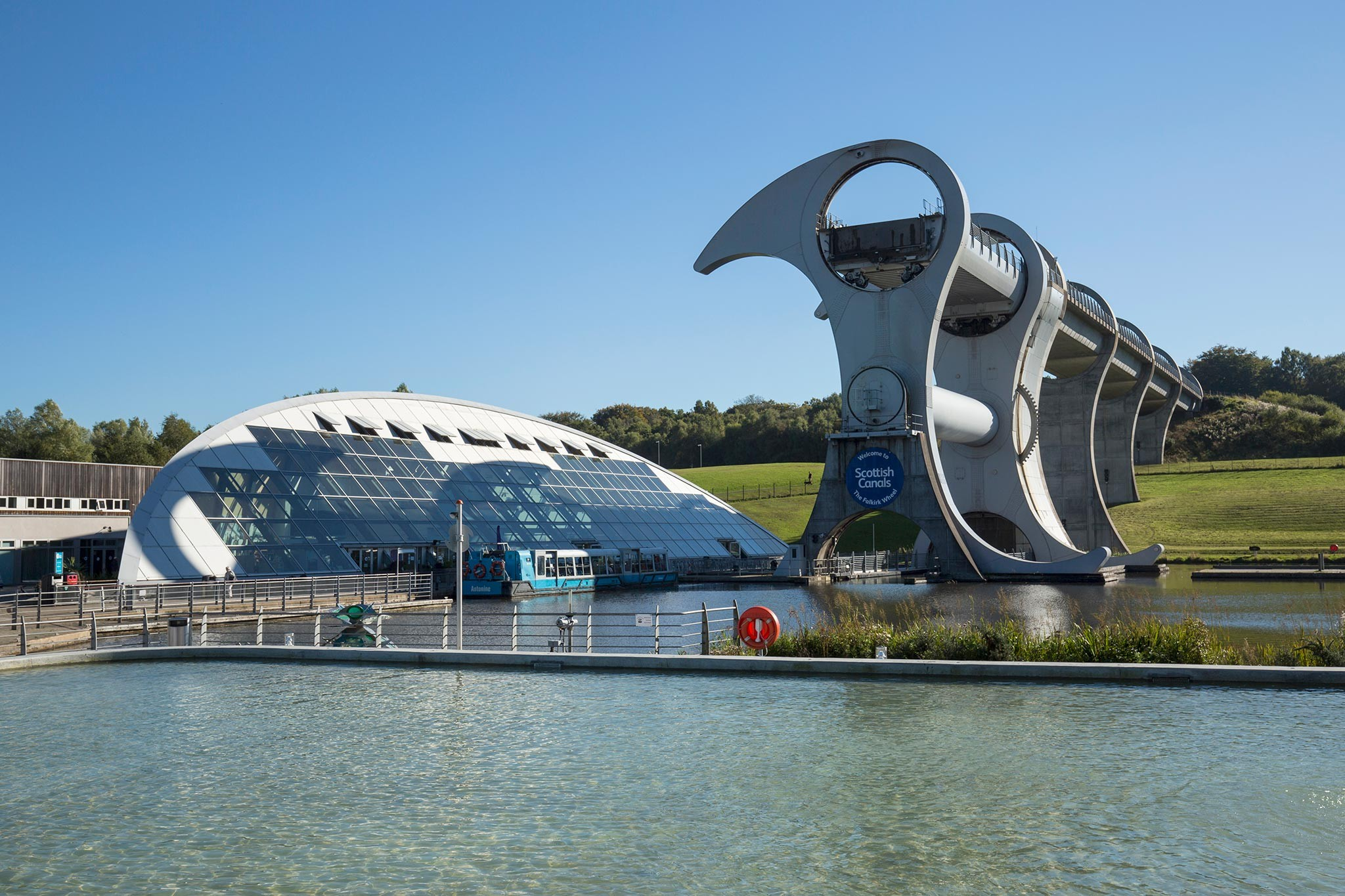 The Falkirk Wheel, the world's only rotating boat lift, connecting the Union Canal and the Forth & Clyde Canal