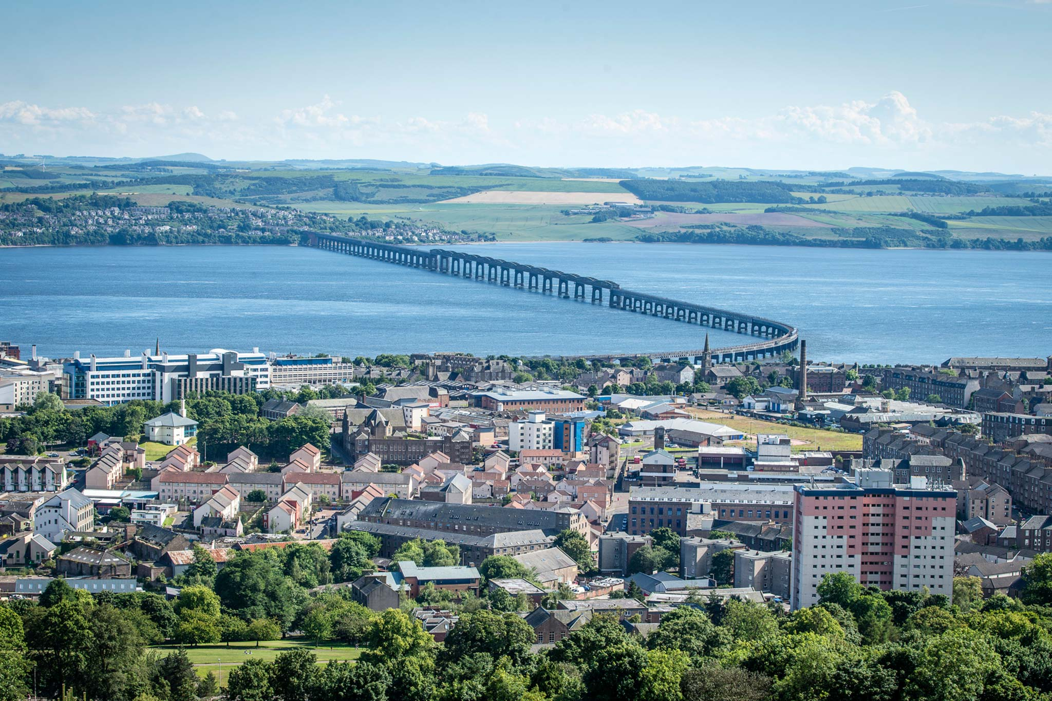 The Tay Rail Bridge as seen from Dundee Law