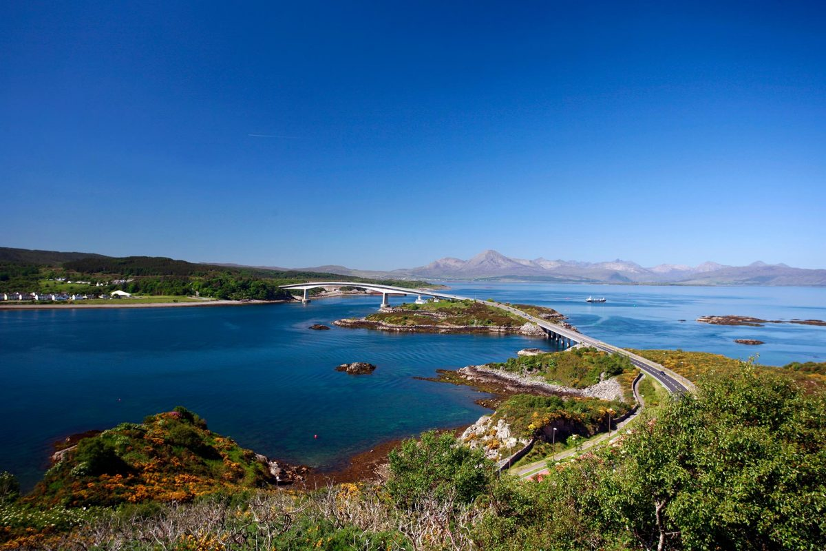 Isle of Skye Road Bridge and Isle of Skye from viewpoint at Kyle of Lochalsh.