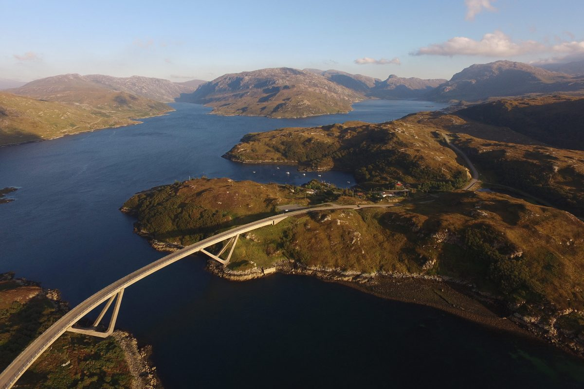 Kylesku Bridge, Assynt, taken from drone