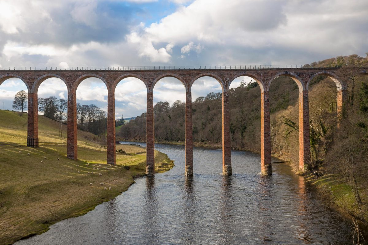 The Leaderfoot Viaduct, also known as the Drygrange Viaduct, is a railway viaduct over the River Tweed near Melrose in the Scottish Borders.
