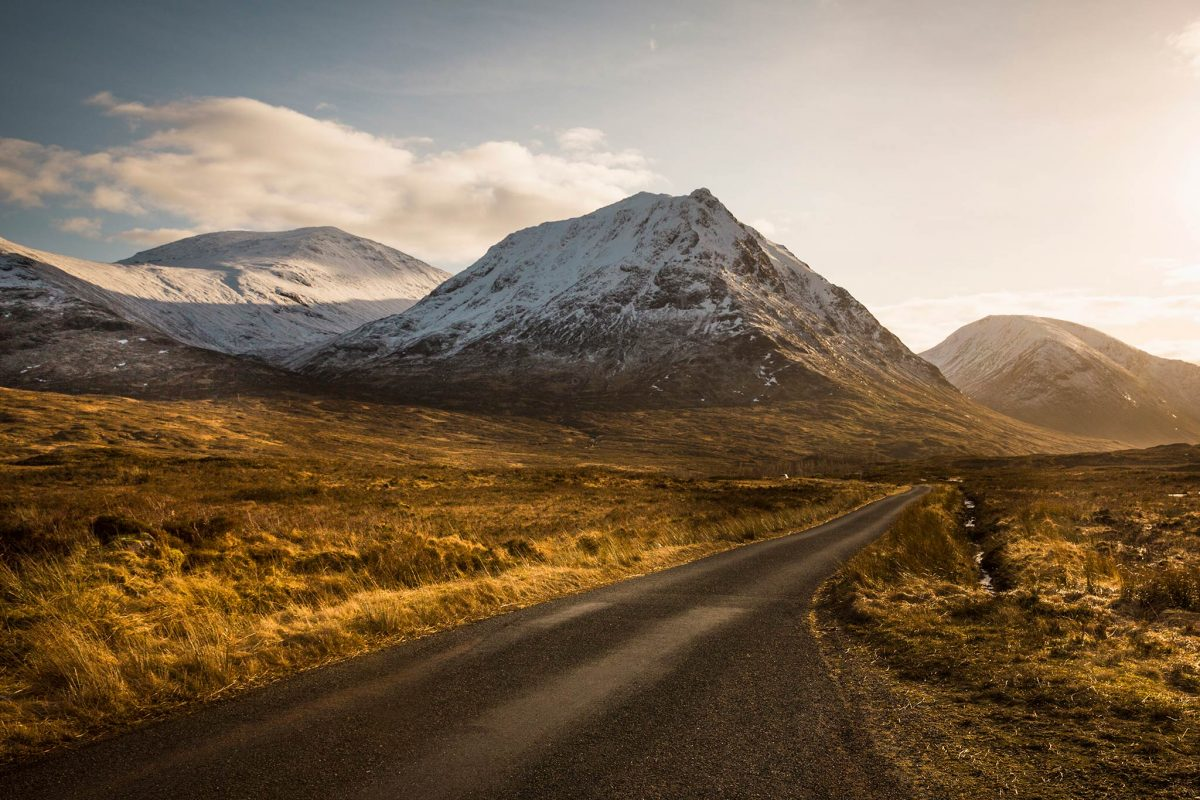 The driving route through Glen Etive near Glencoe