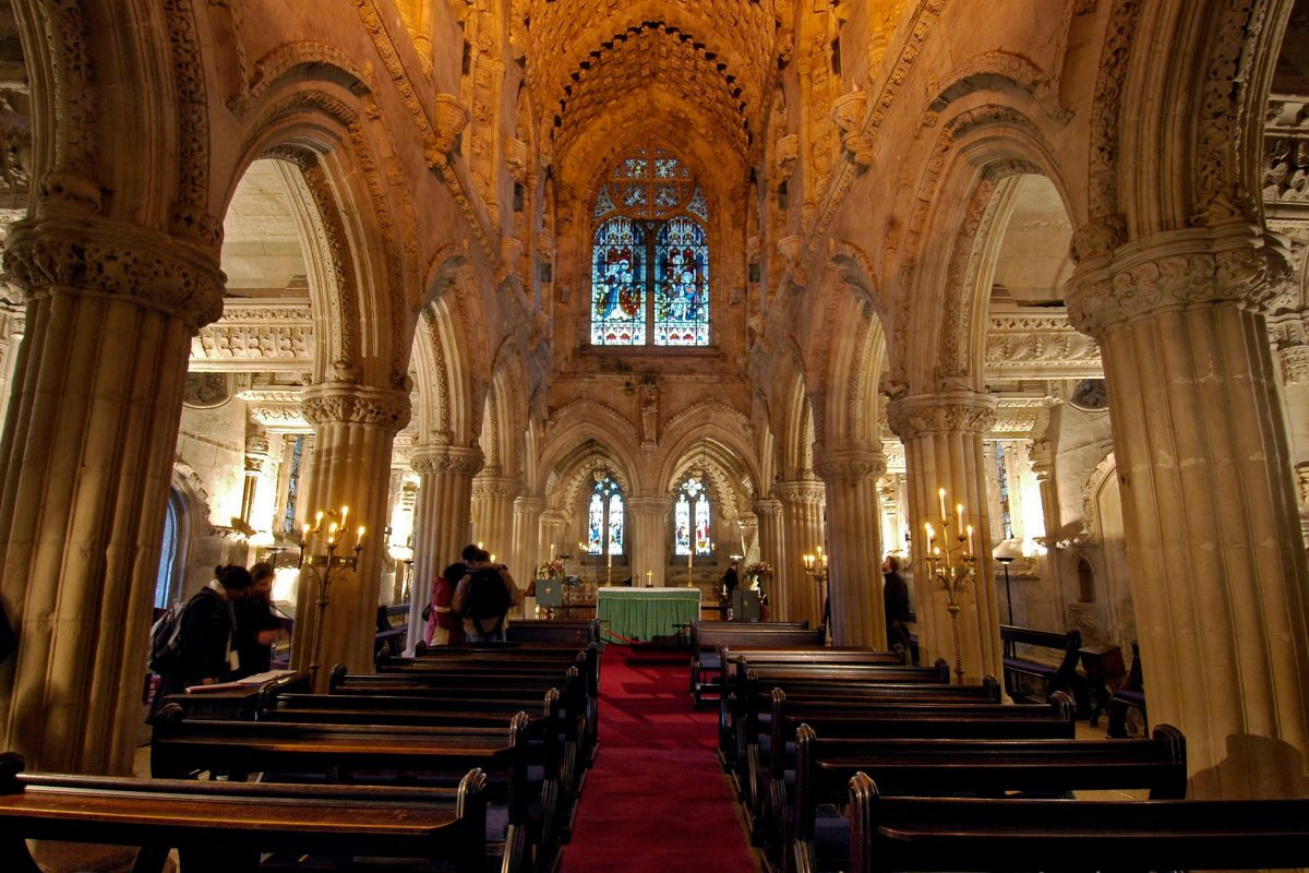 The interior of Rosslyn Chapel showing the barrel vaulted roof viewed from the Baptistery, Roslin