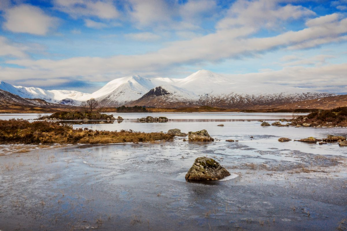 A frozen Lochan na h-Achlaise with a snow-capped Black Mount in the background, Rannoch Moor
