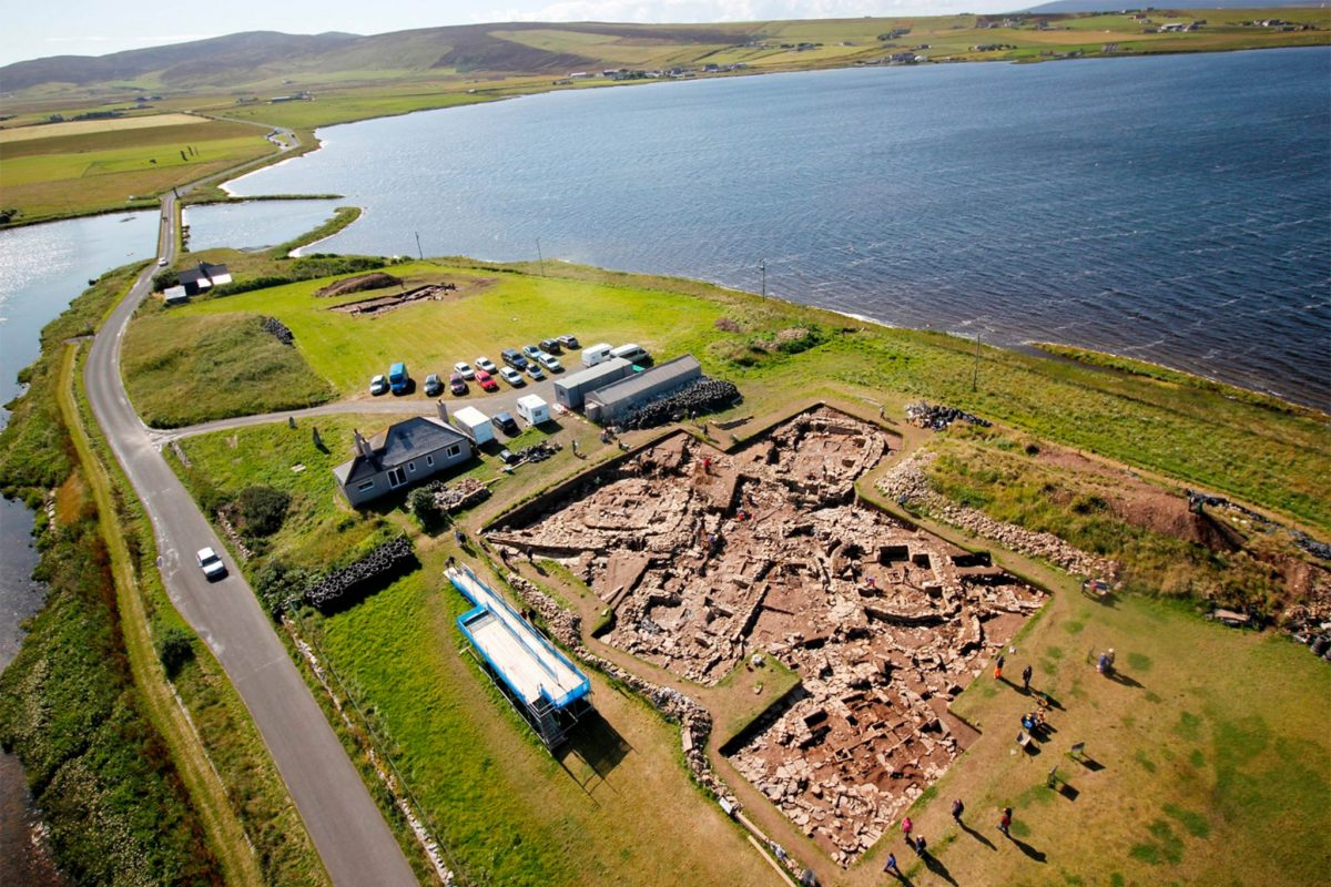 An aerial view of the archaeological site at the Ness of Brodgar.