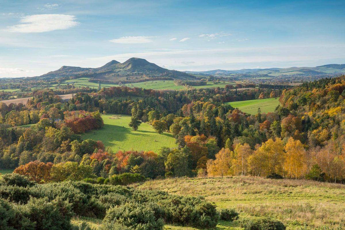 Scott's View, overlooking the valley of the River Tweed and the Eildon Hill, which is reputed to be one of the favourite views of Sir Walter Scott.