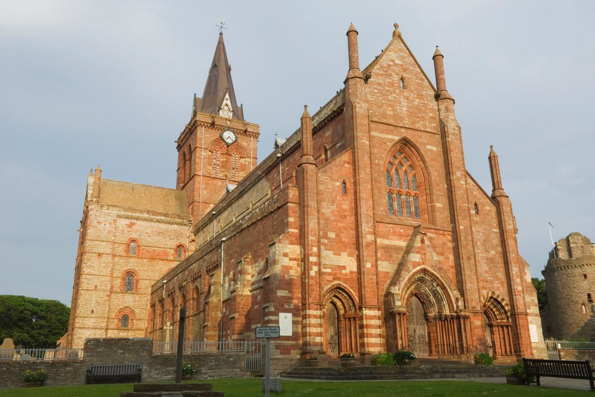 The sandstone exterior of St Magnus Cathedral