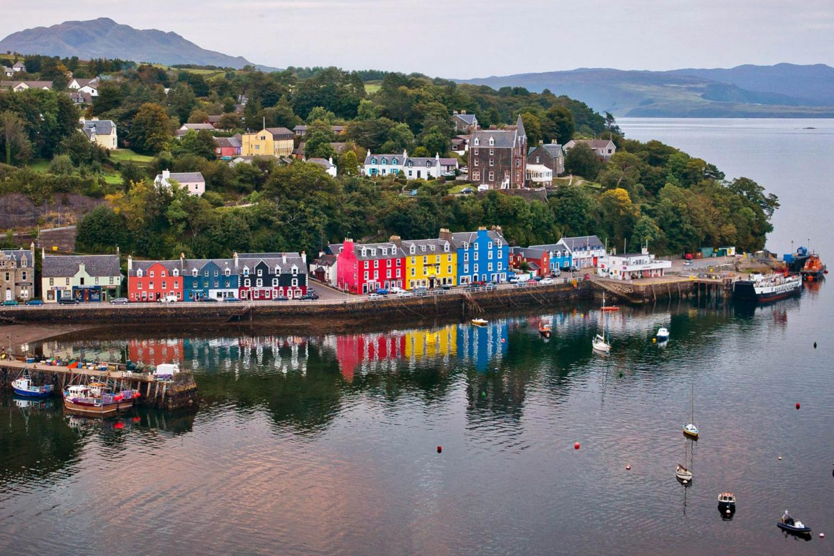 Coloured houses and sailing boats in Tobermory, Mull