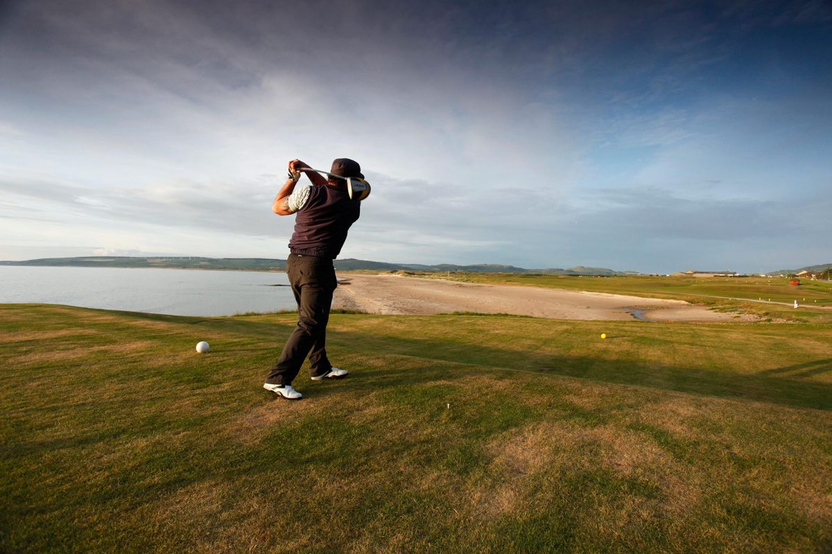 The 1st Tee of the Machrihanish Golf Club, Machrihanish, Kintyre, Argyll.