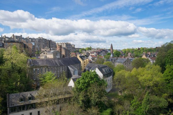 The fine view of Dean Village from Dean Bridge, Edinburgh