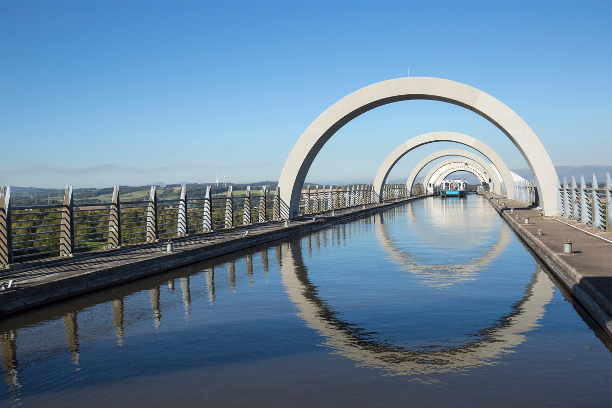 The Falkirk Wheel connecting the Union Canal and the Forth & Clyde Canal