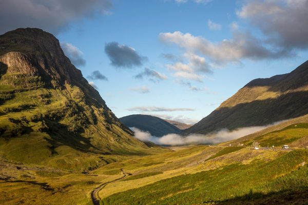 The A82 road running through Glen Coe in the Highlands.