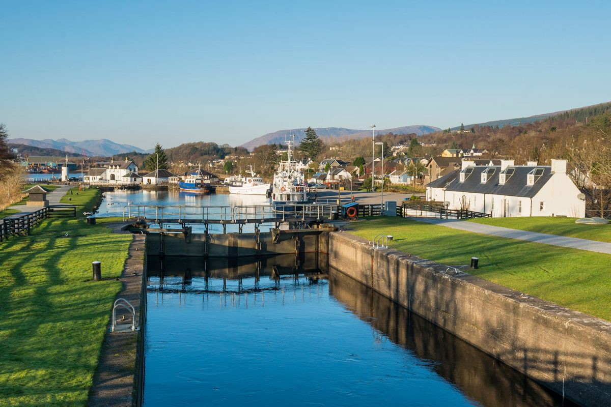 Corpach Basin on the Caledonian Canal, Highlands