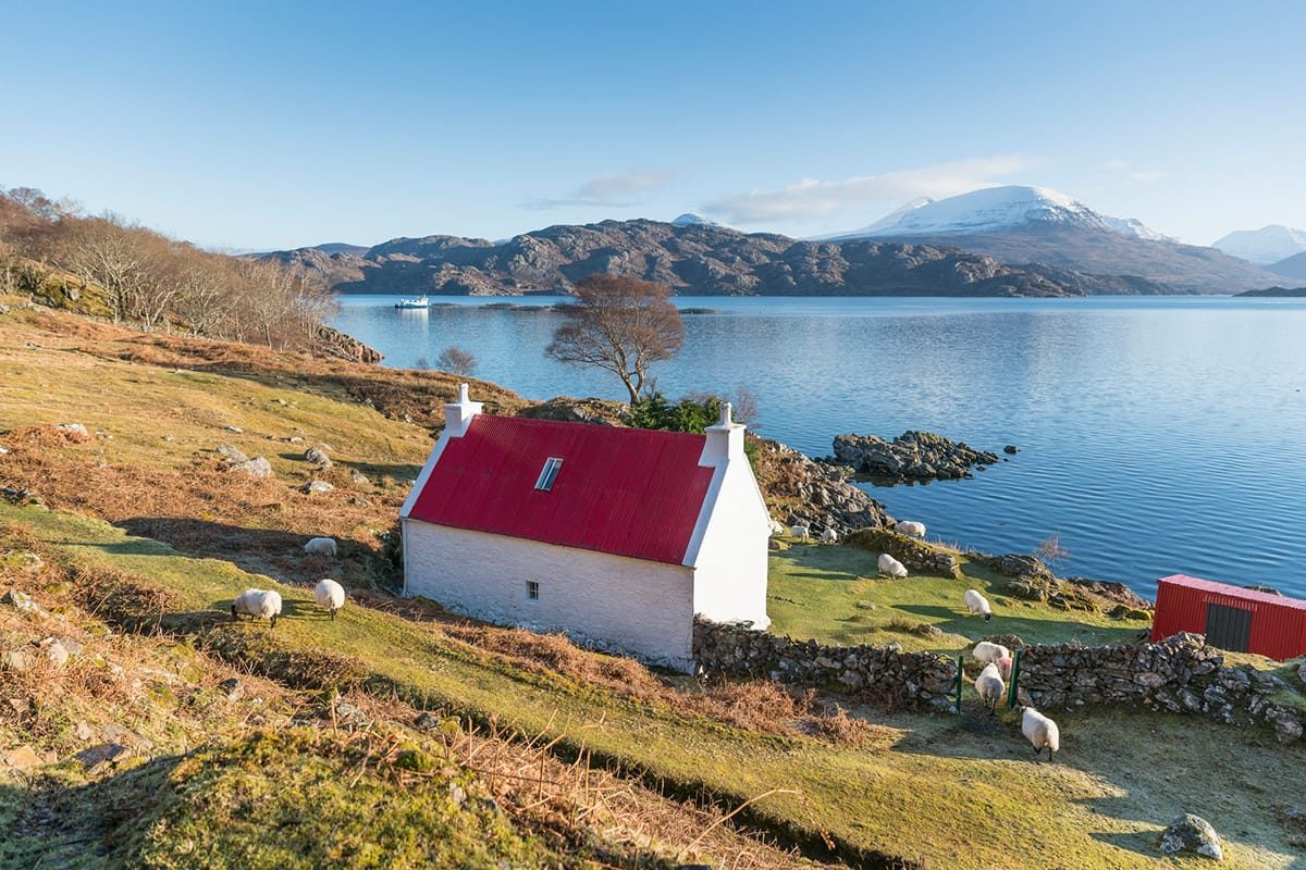 The red roofed cottage on the edge of Loch Shieldaig