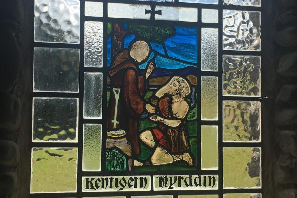 Stained glass window of Kentigern & Myrddin, Stobo Church.