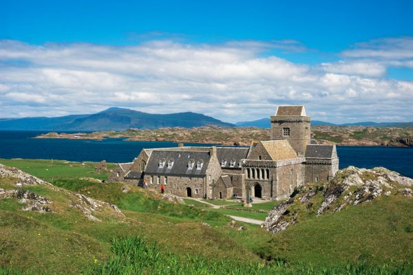 Iona Abbey is located on the Isle of Iona. The abbey was a focal point for the spread of Christianity throughout Scotland since Columba arrived there in AD 563.